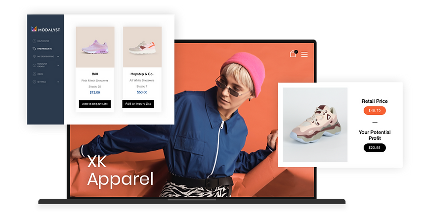 dropshipping online store with Wix and products from the Modalyst dropshipping marketplace
