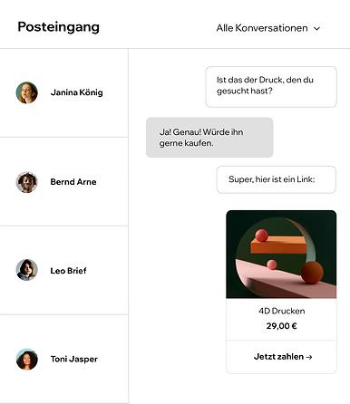 Postfach mit verschiedenen Konversationen mit Website-Besuchern.