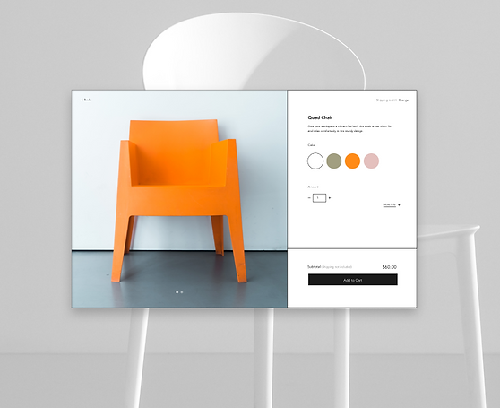 Chaise orange d'un site de vente en ligne de meubles, avec vue du produit.