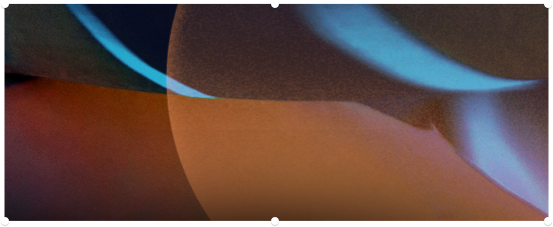 Abstract shapes in deep orange with streaks of blue