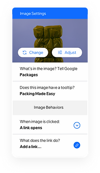 Image settings that allows you to create Roles & Permissions for team members and alt text for images to make your content accessible for everyone.