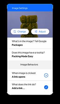 Настройки изображения, позволяющие создавать роли и разрешения для членов команды, а также замещающий текст для изображений, чтобы сделать ваш контент доступным для всех.