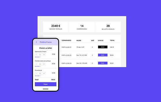 Une image d'un téléphone mobile avec un site qui propose l'achat de billets. Une image du tableau de bord d'un site web Wix Events.