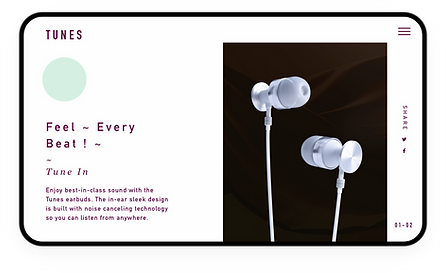 eCommerce website for high-end headphones showcased on tablet.