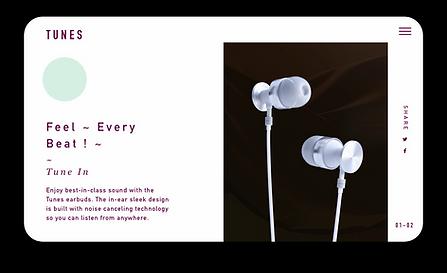 e-handelssida för exklusiva hörlurar som visas på en surfplatta.