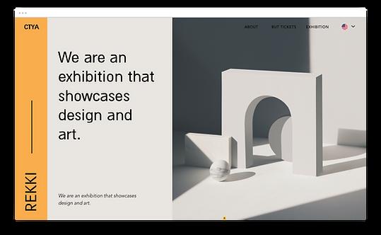 Un sitio web para una exposición de arte y diseño.