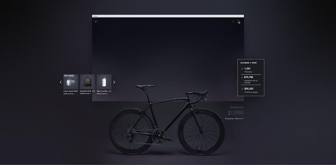 Tienda en línea de productos para ciclistas mostrando una bicileta de montaña. Vista general de los últimos 7 días de la tienda, galería de productos y flujo de pago móvil.
