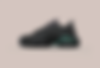 Black and green sneaker on beige background