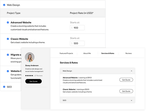 Services and rates in the Wix Marketplace