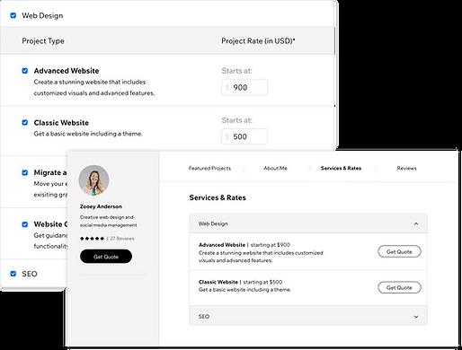 Профиль Wix Marketplace с услугами и тарифами.