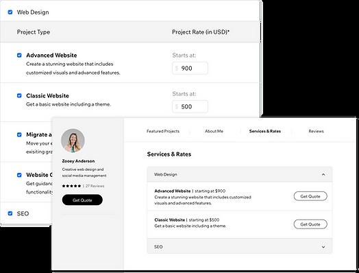 Un profilo sul Wix Marketplace con servizi e tariffe