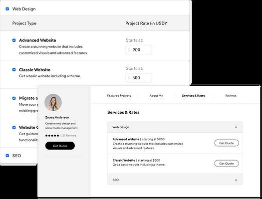 Um perfil do Wix Marketplace com serviços e taxas