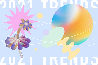 A thumbnail of a blog post that speaks about top web design trends for 2021. The image features some of the trending including pastel colors, abstract shapes, vector arts and more.