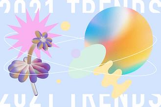 Una miniatura di un post sul blog che parla delle principali tendenze di web design per il 2021. L'immagine presenta alcune delle tendenze, tra cui colori pastello, forme astratte e arte vettoriale.