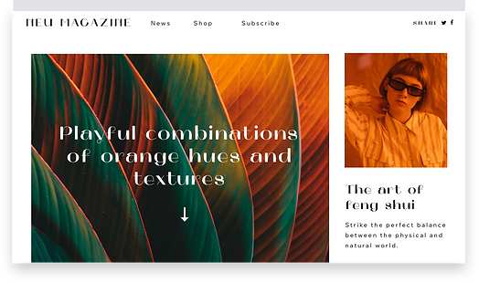 A published magazine website built using Corvid technology to create a more complex website.