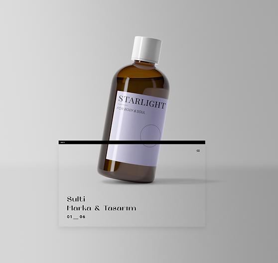 Mor etiketli bir vücut sabunu şişesi.