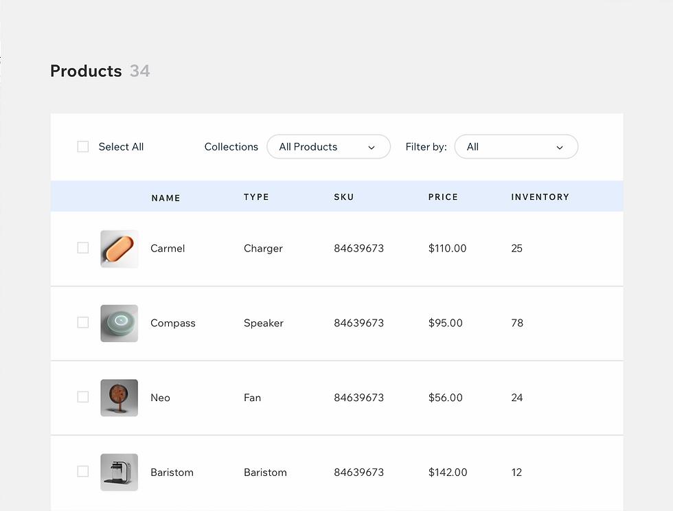 İsimler, fiyatlar ve envanter içeren ürün veritabanı