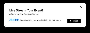 イベントのライブストリーミング配信を促すダイアログ
