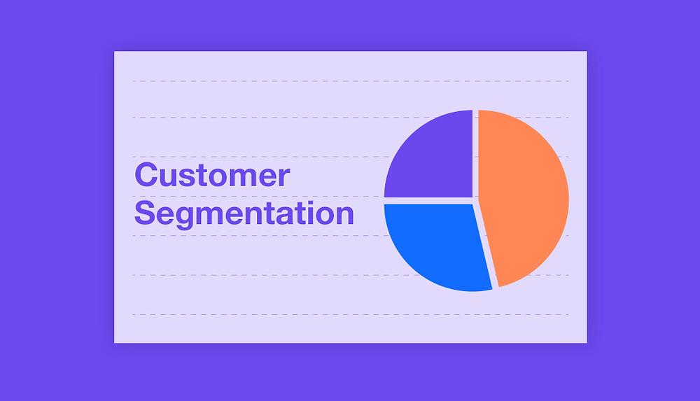 Customer segmentation pie chart on a purple background