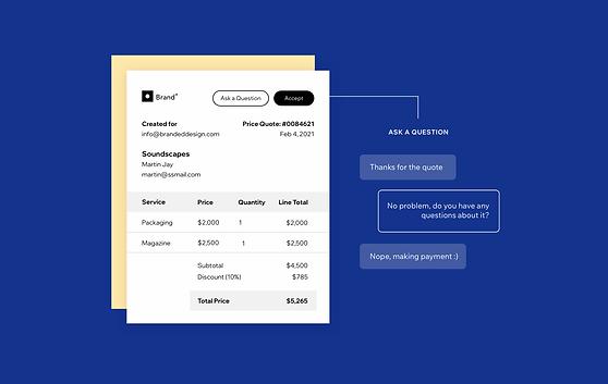 Odesílejte zákazníkům cenové nabídky s logem a umožněte jim platbu přímo z okna chatu.
