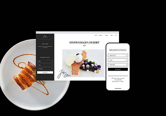 Example of the online table booking system for a restaurant page in the Wix restaurant website builder.