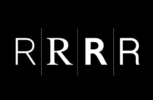 The letter R written in different fonts on a black background