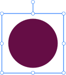 A maroon circle design element being resized.