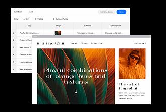 Um site de uma revista criado com a tecnologia Corvid exibindo funcionalidades mais complexas.
