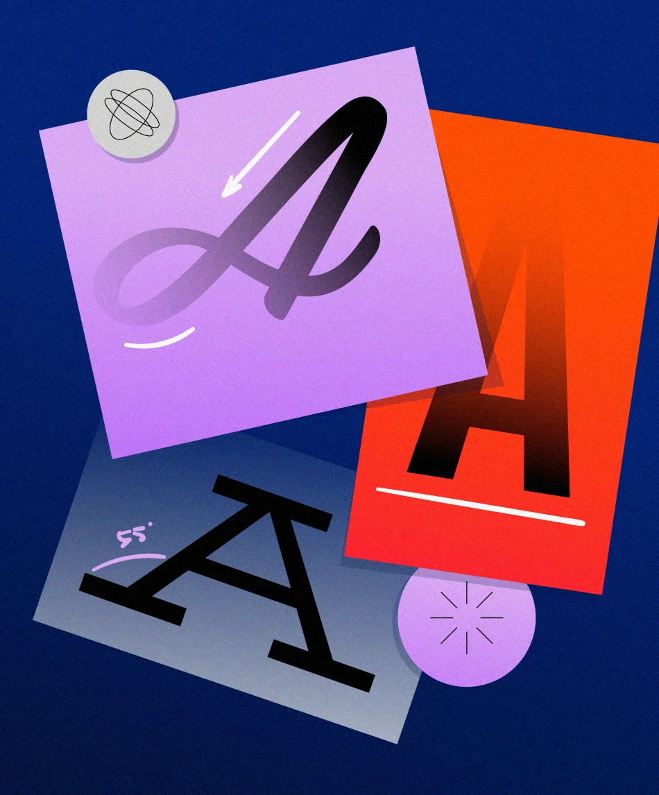 The letter A in different handwritten fonts by Vered Bloch