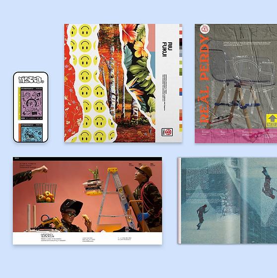 Collage de páginas en un sitio de diseño creado en Wix.
