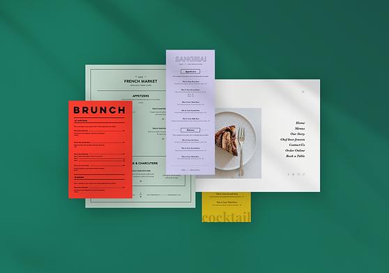Examples of different restaurant menu designs from the Wix restaurant website builder.g