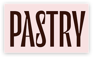 Front of a business card showing the word 'pastry'.