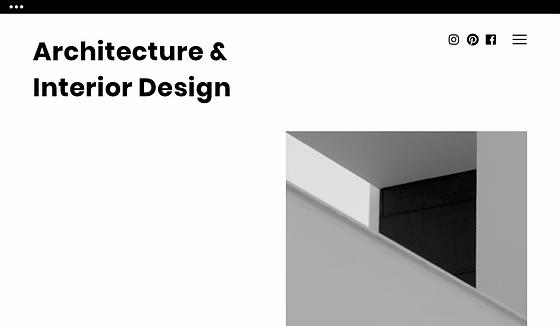 Startside for et arkiteksfirmas hjemmeside.