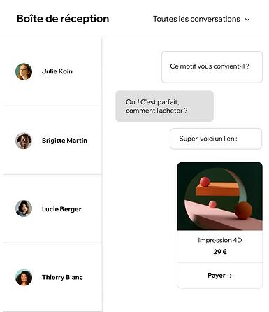 Boîte de réception d'un utilisateur qui montre des conversations avec des visiteurs de site
