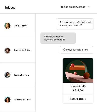 Inbox do usuário mostrando várias conversas com os visitantes do site.