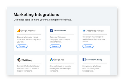 Icons and descriptions of 6 popular marketing tools