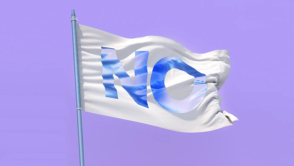 A white flag with the word 'No' on it.