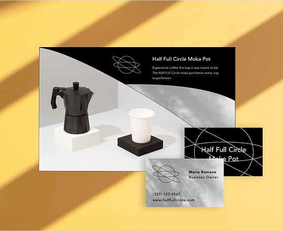 Moka pot company's website and business card