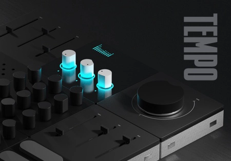 A music synthesizer with 3 knobs highlighted in blue