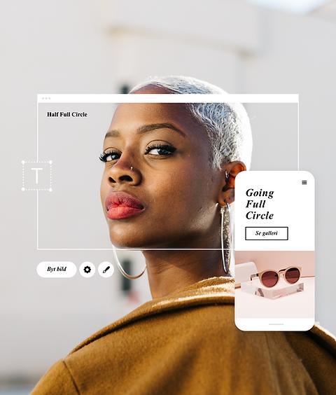Bild av en modebloggssida som heter half Full Circle, visad på dator och mobil.