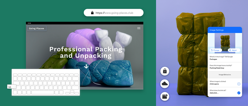 A packing website showcasing built-in features that allows you to create Roles & Permissions for team members, secure hosting and alt text for image that makes your content accessible for everyone.