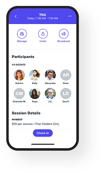 Wix Fitness mobile app view of personal trainer software