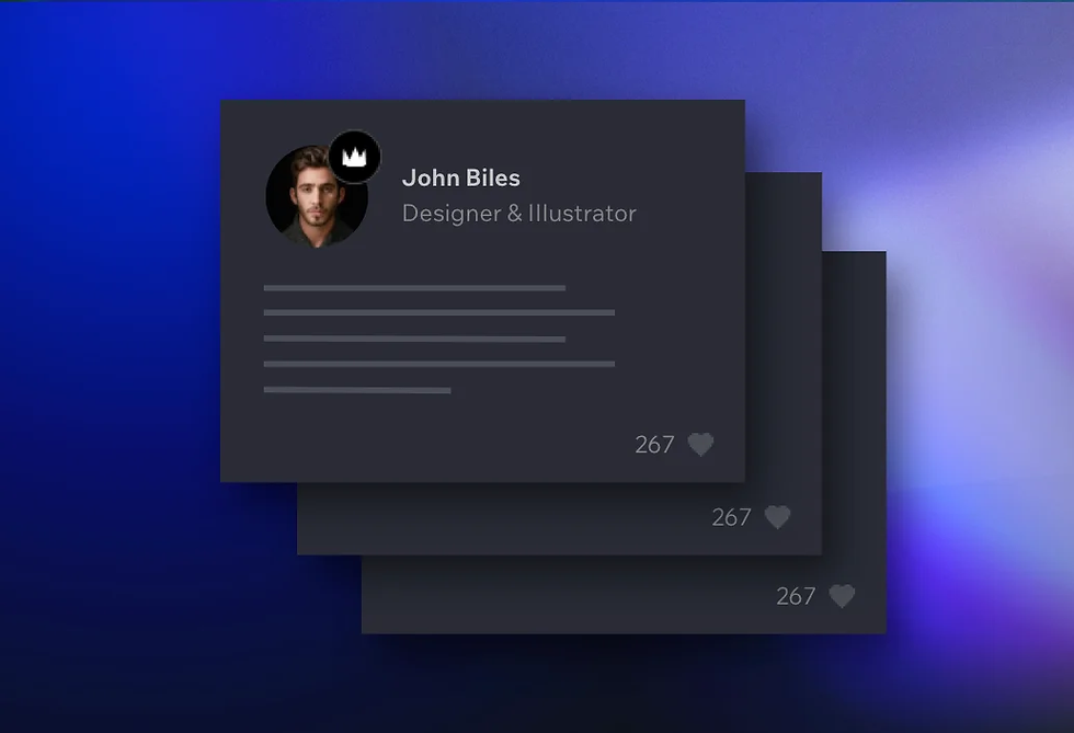 Profile image, badge and title of a member of Community X shown above an abstract depiction of his profile info.