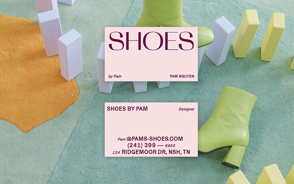 Front and back of a customized business card for a shoe business, with images of shoes in the background.