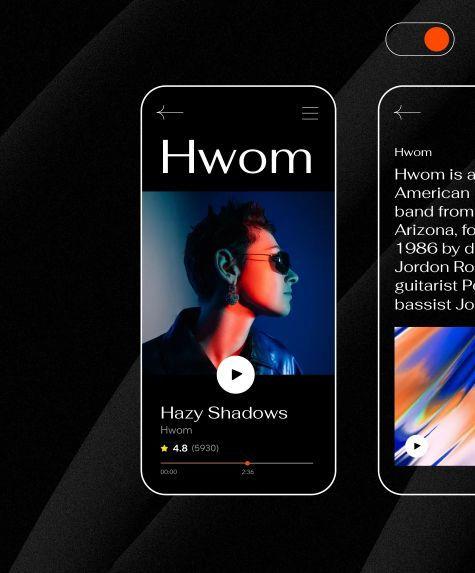 Dark mode design example on mobile