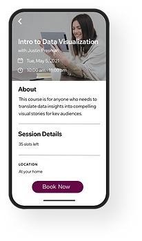 Image of the Wix Mobile app that allows clients to book classes on-the-go