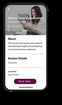 Obrazek aplikacji Wix Mobile, która umożliwia klientom rezerwowanie zajęć w każdej chwili