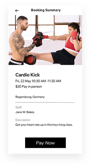 Payment and booking services for fitness businesses