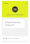 A website's live chat box with a conversation being started with a customer