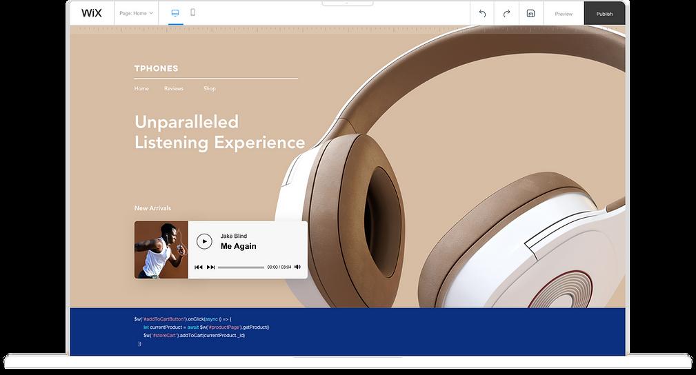 Um computador que exibe o editor Wix e a criação de um site ecommerce que vende fones de ouvido. O site apresenta um par de fones de ouvido com cancelamento de som de cor de caramelo para venda na loja virtual.